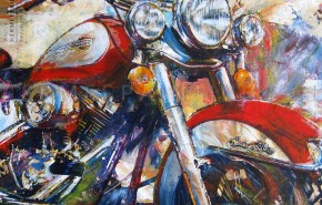 Portfolio hermespaintings.nl - Harley Davidson - motor - door Walter Hermes